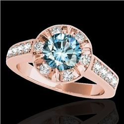 2 CTW Si Certified Fancy Blue Diamond Solitaire Halo Ring 10K Rose Gold - REF-236F4N - 34492