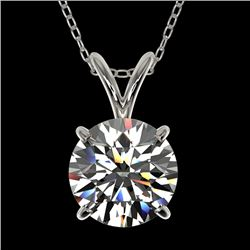 1.55 CTW Certified H-SI/I Quality Diamond Solitaire Necklace 10K White Gold - REF-322W5F - 36796