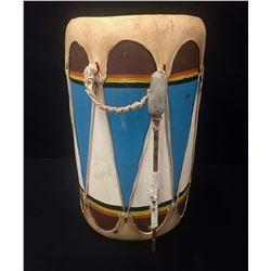 Vintage Hand Painted Drum - Beaded Beater