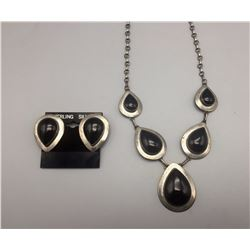Black Onyx and Sterling Necklace Set