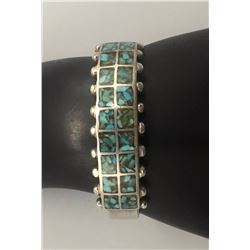 Vintage Turquoise Inlay and Sterling Silver Bracelet