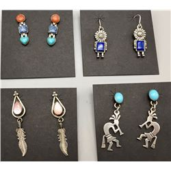 Group of Four Pair, SW Style Earrings