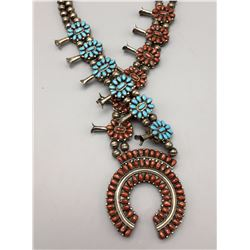 Victor Moses Begay, Double Sided Squash Blossom Necklace