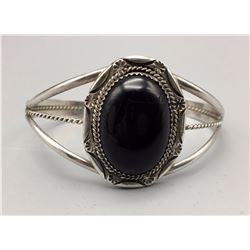 Vintage Onyx and Sterling Silver Bracelet