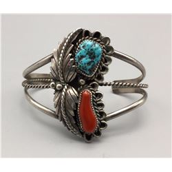 Vintage Turquoise and Coral, Sterling Silver Bracelet