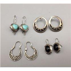 Group of 4 Pair Sterling Earrings