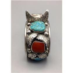 Vintage Turquoise, Coral Watch Bracelet