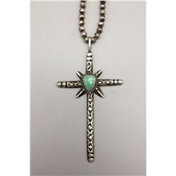 Vintage Heavy, Hand Wrought Cross Necklace