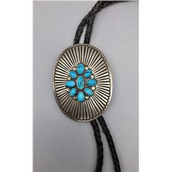 Vintage Heavy Sterling and Turquoise Bolo Tie