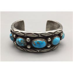 Solid, Sterling Silver and Turquoise Bracelet