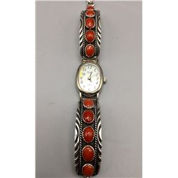 Sterling and Coral Watch Bracelet