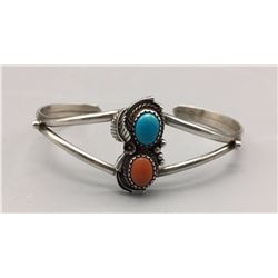Vintage Turquoise and Coral Bracelet