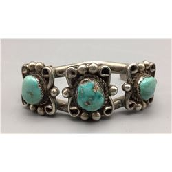 Three Stone Vintage Turquoise Bracelet