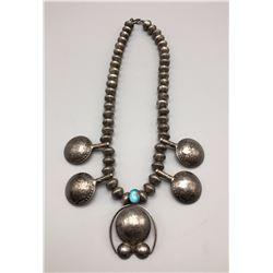 Unique Squash Blossom Style Necklace - Coin Silver