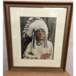 1920s Hand Colored Photo of Chief Eagle Feather