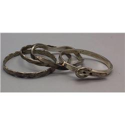 Group of 4 Sterling Silver Bangle Bracelets