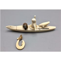 Antique Ivory Canoe with Accessories