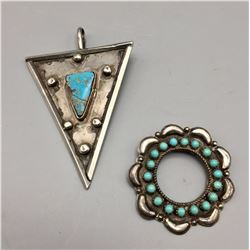 Pair of Vintage Sterling and Turquoise Pendants
