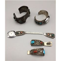 Group of Sterling, Turquoise, Coral Watch Bracelets