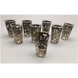 Group of Shot Glasses with Sterling Silver
