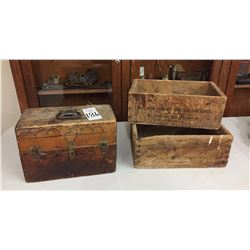 Old Wooden Ammo and Branding Boxes