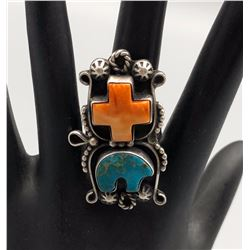 Nice Spiny Oyster and Turquoise Ring