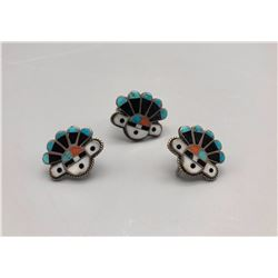 Vintage Zuni Inlay Earrings and Ring