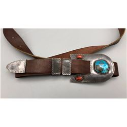 Four Piece Buckle Set With Leather Belt