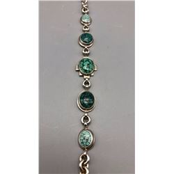 Spiderweb Turquoise Link Bracelet