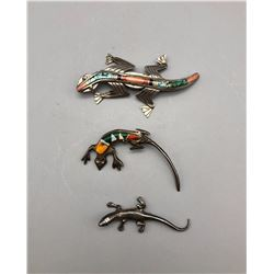 Group of Three Lizard Pins