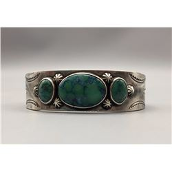Large Size Sterling and Turquoise Bracelet