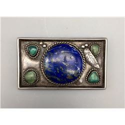 Vintage Turquoise and Lapis Belt Buckle