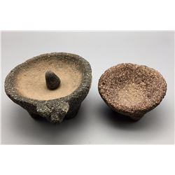 Pair of Old Stone Grinding Bowls