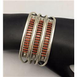 Coral Needlepoint Bracelet
