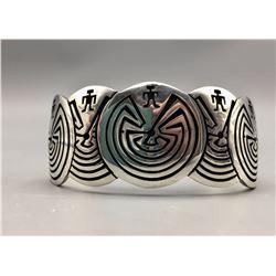 Man-In-The Maze Silver Bracelet Hopi