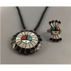 Zuni Sunface Necklace and Ring