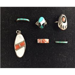Group of 5 Rings and Pendant