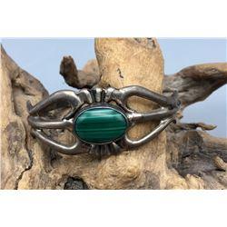 Malachite and Sterling Silver Bracelet- Sandcast