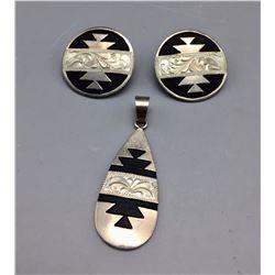 Julius Keyonnie Pendant and Earrings