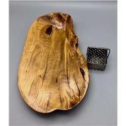 Handmade Wood Platter and Silver Basket