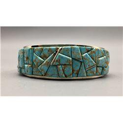 Heavy Turquoise Inlay Bracelet