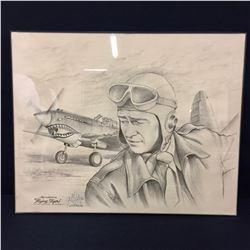 John Wayne Pencil Drawing by Gil Ortega