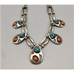 Vintage Navajo Turquoise and Coral Necklace