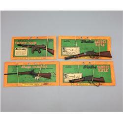 4 Vintage Marx Cap Guns - Original Packaging
