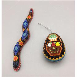 Pair of Huichol Beaded Items
