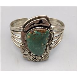 Turquoise and Sterling Silver  Bracelet - Signed