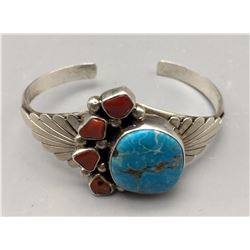 Turquoise, Coral and Sterling Silver Bracelet
