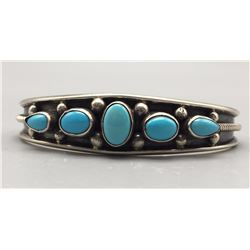 Turquoise and Sterling Bracelet - Johnson