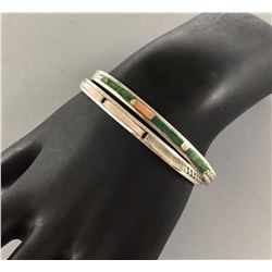 Pair of Sterling Silver Inlay Bracelets