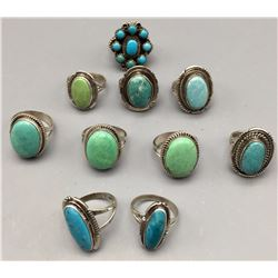 Group of 10 Turquoise Rings